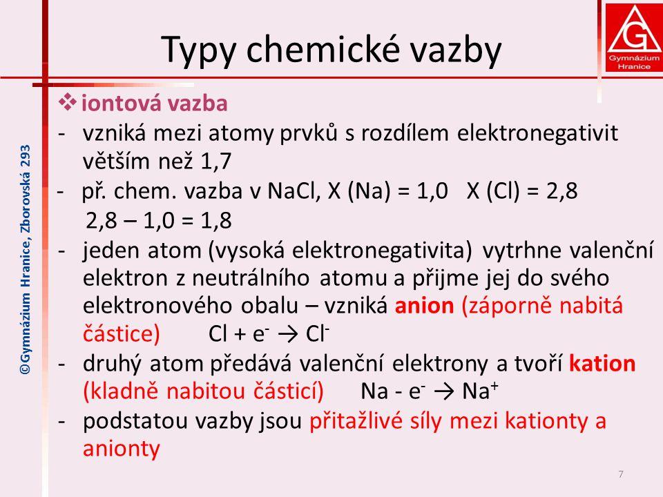 Typy chemické vazby  iontová vazba -vzniká mezi atomy prvků s rozdílem elektronegativit větším než 1,7 -př. chem. vazba v NaCl, X (Na) = 1,0 X (Cl) =