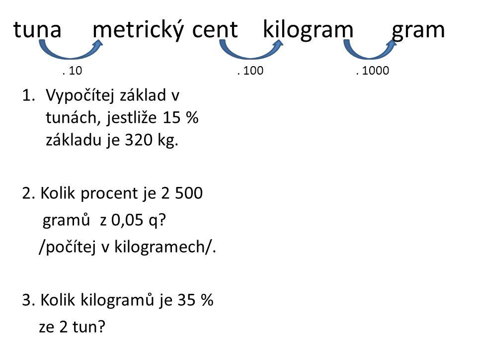 tuna metrický cent kilogram gram 1.Vypočítej základ v tunách, jestliže 15 % základu je 320 kg. 2. Kolik procent je 2 500 gramů z 0,05 q? /počítej v ki