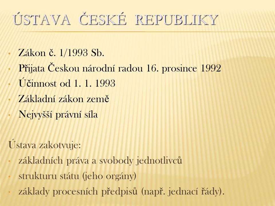ÚSTAVA ČESKÉ REPUBLIKY Zákon č. 1/1993 Sb. P ř ijata Č eskou národní radou 16. prosince 1992 Ú č innost od 1. 1. 1993 Základní zákon zem ě Nejvyšší pr