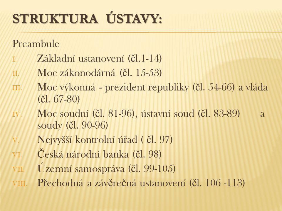 STRUKTURA ÚSTAVY: Preambule I. Základní ustanovení ( č l.1-14) II. Moc zákonodárná ( č l. 15-53) III. Moc výkonná - prezident republiky ( č l. 54-66)