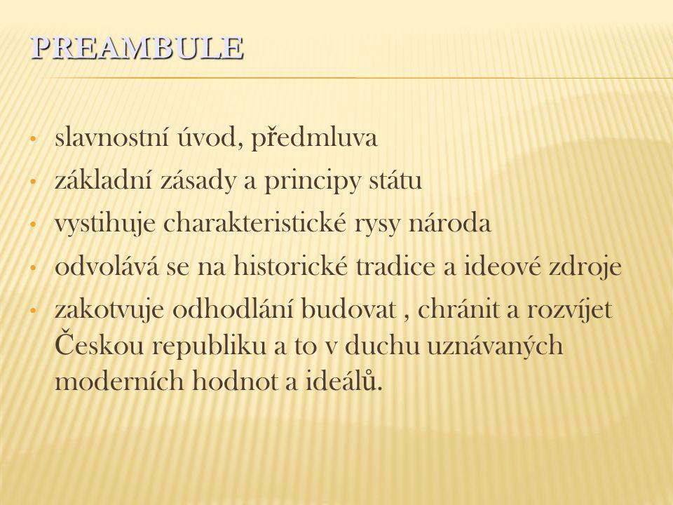PREAMBULE slavnostní úvod, p ř edmluva základní zásady a principy státu vystihuje charakteristické rysy národa odvolává se na historické tradice a ide