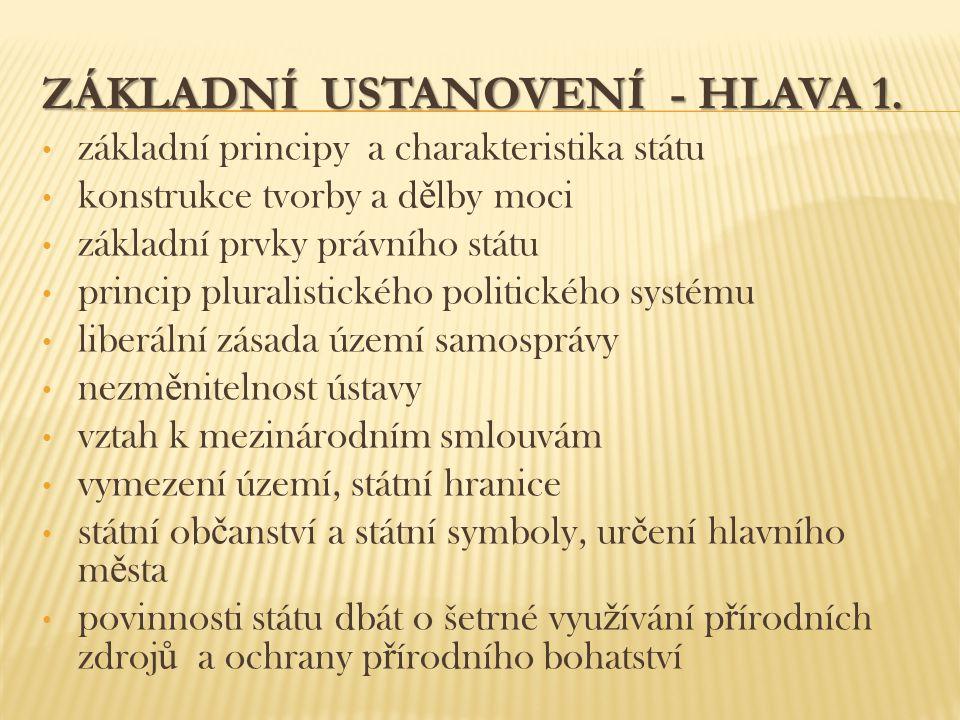 ZÁKLADNÍ USTANOVENÍ - HLAVA 1. základní principy a charakteristika státu konstrukce tvorby a d ě lby moci základní prvky právního státu princip plural