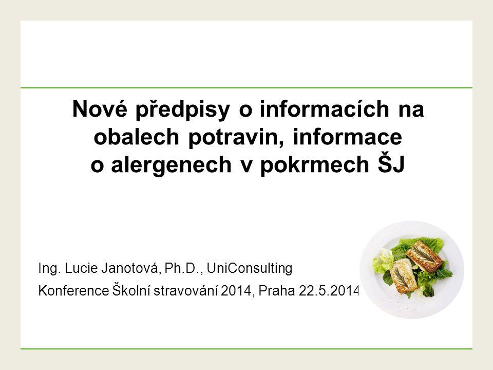 Nové předpisy o informacích na obalech potravin, informace o alergenech v pokrmech ŠJ Ing. Lucie Janotová, Ph.D., UniConsulting Konference Školní stra