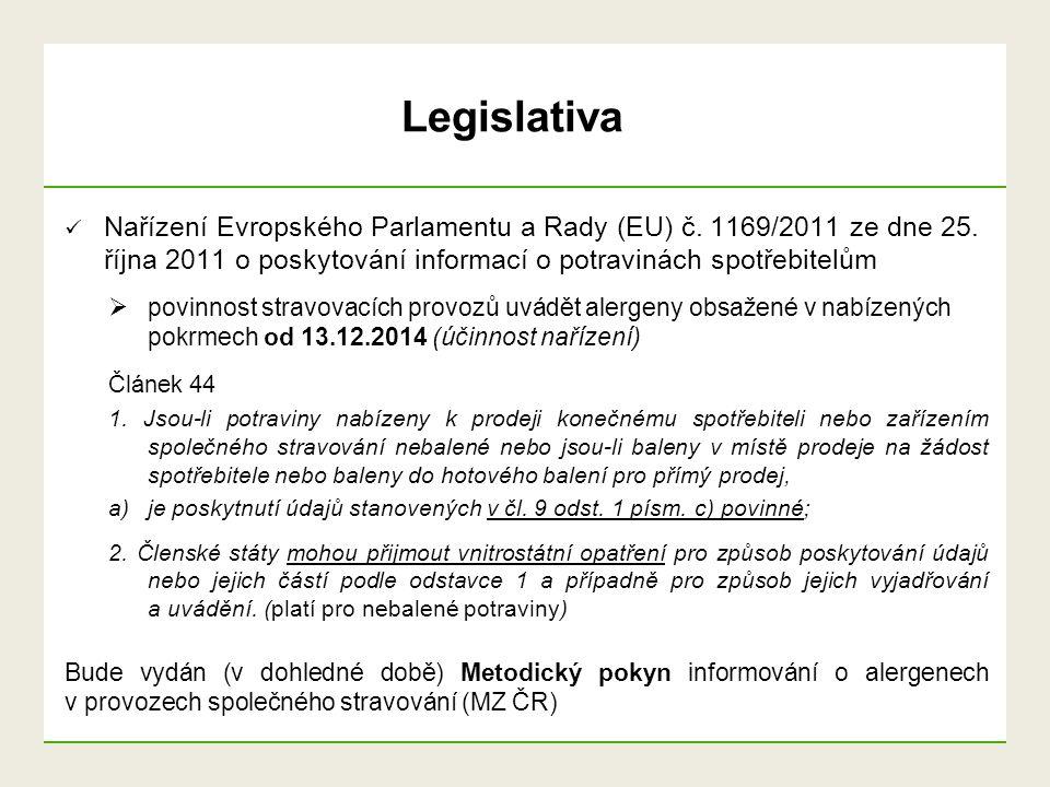 Nařízení Evropského Parlamentu a Rady (EU) č. 1169/2011 ze dne 25. října 2011 o poskytování informací o potravinách spotřebitelům  povinnost stravova