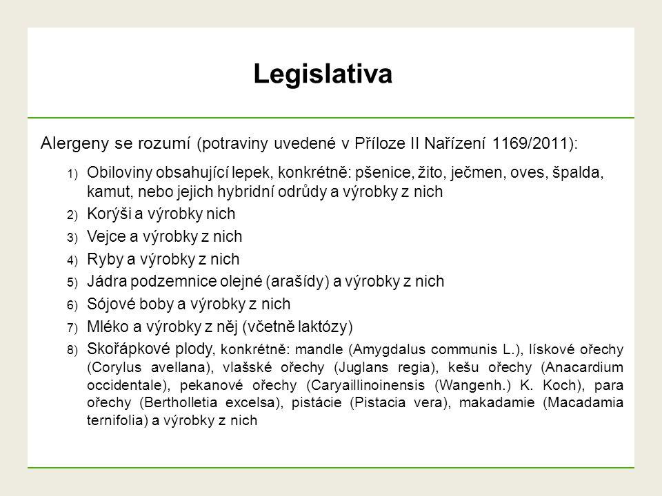 Alergeny se rozumí (potraviny uvedené v Příloze II Nařízení 1169/2011): 9) Celer a výrobky z něj 10) Hořčice a výrobky z ní 11) Sezamová semena a výrobky z nich 12) Oxid siřičitý a siřičitany v koncentracích vyšších než 10 mg/kg nebo 10 mg/l, vyjádřeno jako celkový SO2, které se propočítají pro výrobky určené k přímé spotřebě nebo ke spotřebě po rekonstituování podle pokynů výrobce 13) Vlčí bob (lupina) a výrobky z něj 14) Měkkýši a výrobky z nich Legislativa