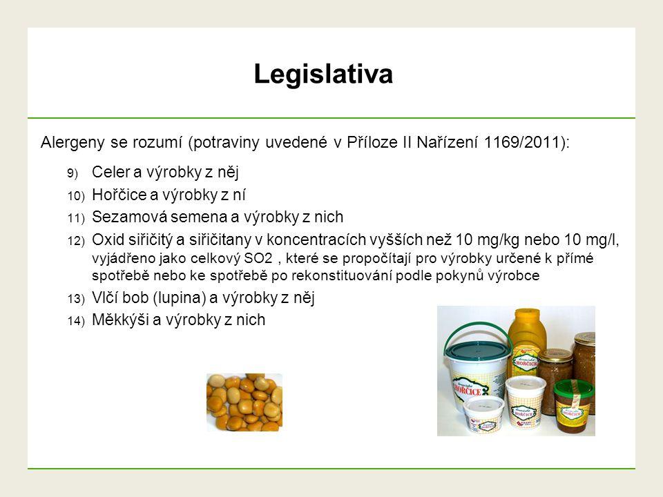 Alergeny se rozumí (potraviny uvedené v Příloze II Nařízení 1169/2011): 9) Celer a výrobky z něj 10) Hořčice a výrobky z ní 11) Sezamová semena a výro