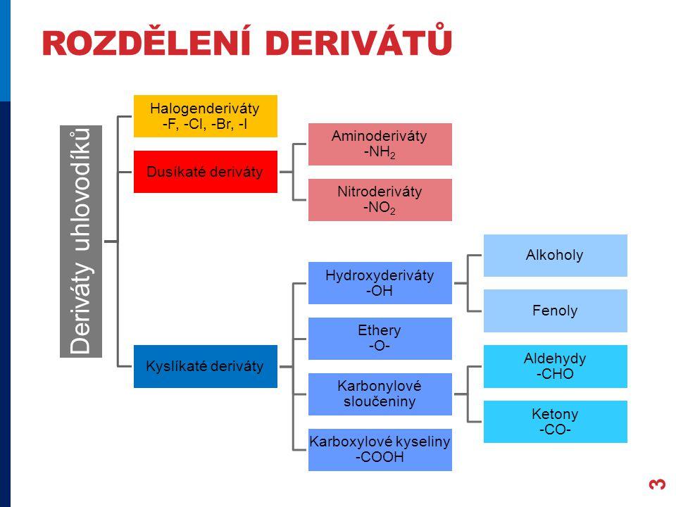 ROZDĚLENÍ DERIVÁTŮ Deriváty uhlovodíků Halogenderiváty -F, -Cl, -Br, -I Dusíkaté deriváty Aminoderiváty -NH2 Nitroderiváty -NO2 Kyslíkaté deriváty Hydroxyderiváty -OH Alkoholy Fenoly Ethery -O- Karbonylové sloučeniny Aldehydy -CHO Ketony -CO- Karboxylové kyseliny -COOH 3