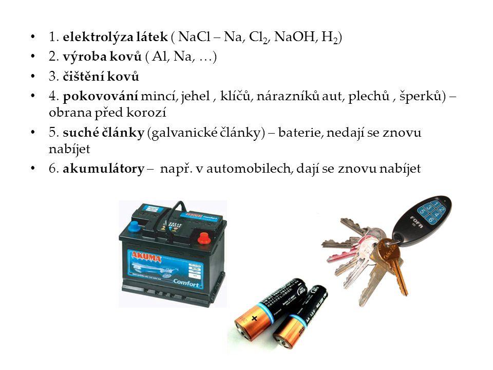 1. elektrolýza látek ( NaCl – Na, Cl 2, NaOH, H 2 ) 2. výroba kovů ( Al, Na, …) 3. čištění kovů 4. pokovování mincí, jehel, klíčů, nárazníků aut, plec