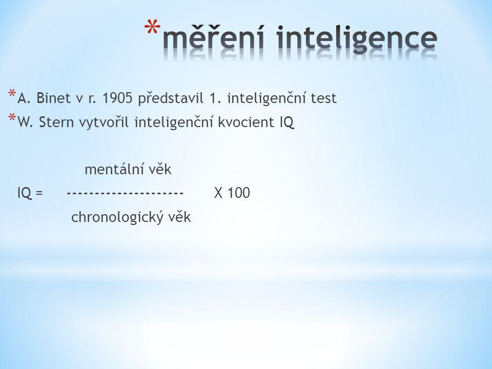 * A. Binet v r. 1905 představil 1. inteligenční test * W. Stern vytvořil inteligenční kvocient IQ mentální věk IQ = --------------------- X 100 chrono