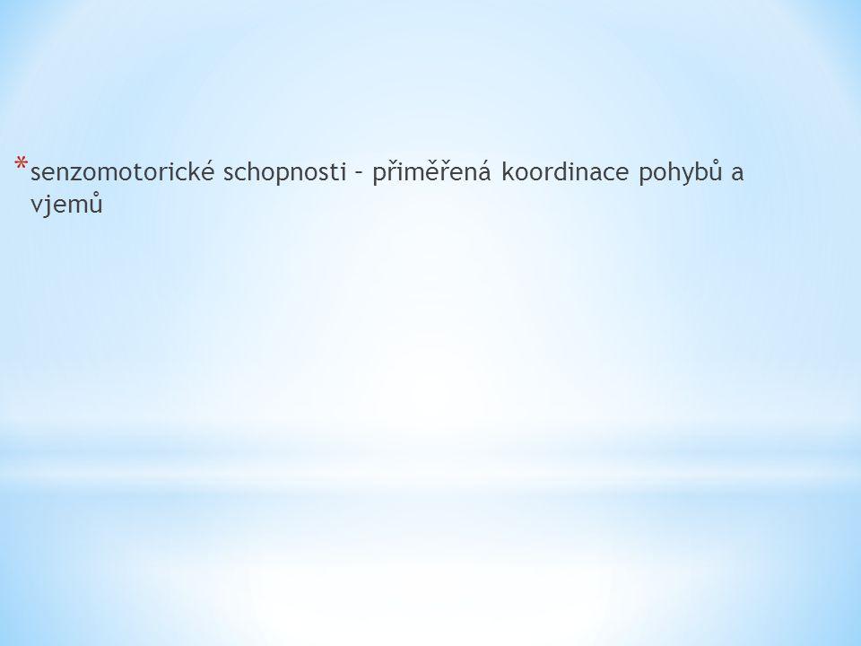 * senzomotorické schopnosti – přiměřená koordinace pohybů a vjemů