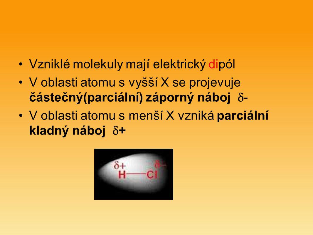 Vzniklé molekuly mají elektrický dipól V oblasti atomu s vyšší X se projevuje částečný(parciální) záporný náboj  - V oblasti atomu s menší X vzniká