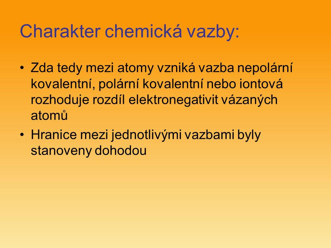 Charakter chemická vazby: Zda tedy mezi atomy vzniká vazba nepolární kovalentní, polární kovalentní nebo iontová rozhoduje rozdíl elektronegativit váz