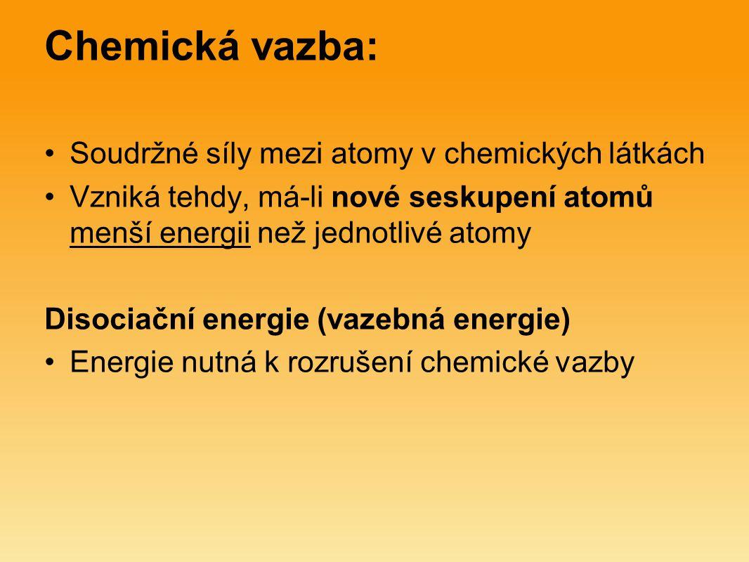 Chemická vazba: Soudržné síly mezi atomy v chemických látkách Vzniká tehdy, má-li nové seskupení atomů menší energii než jednotlivé atomy Disociační e
