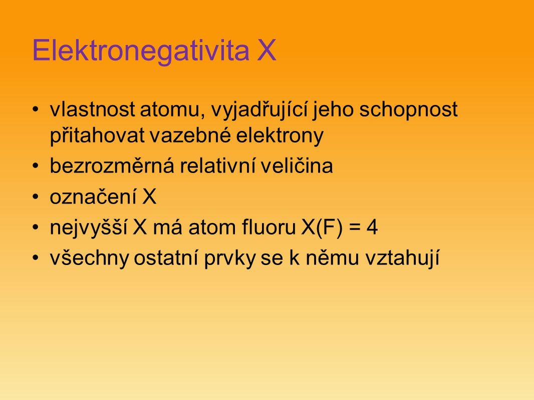 Elektronegativita X vlastnost atomu, vyjadřující jeho schopnost přitahovat vazebné elektrony bezrozměrná relativní veličina označení X nejvyšší X má a