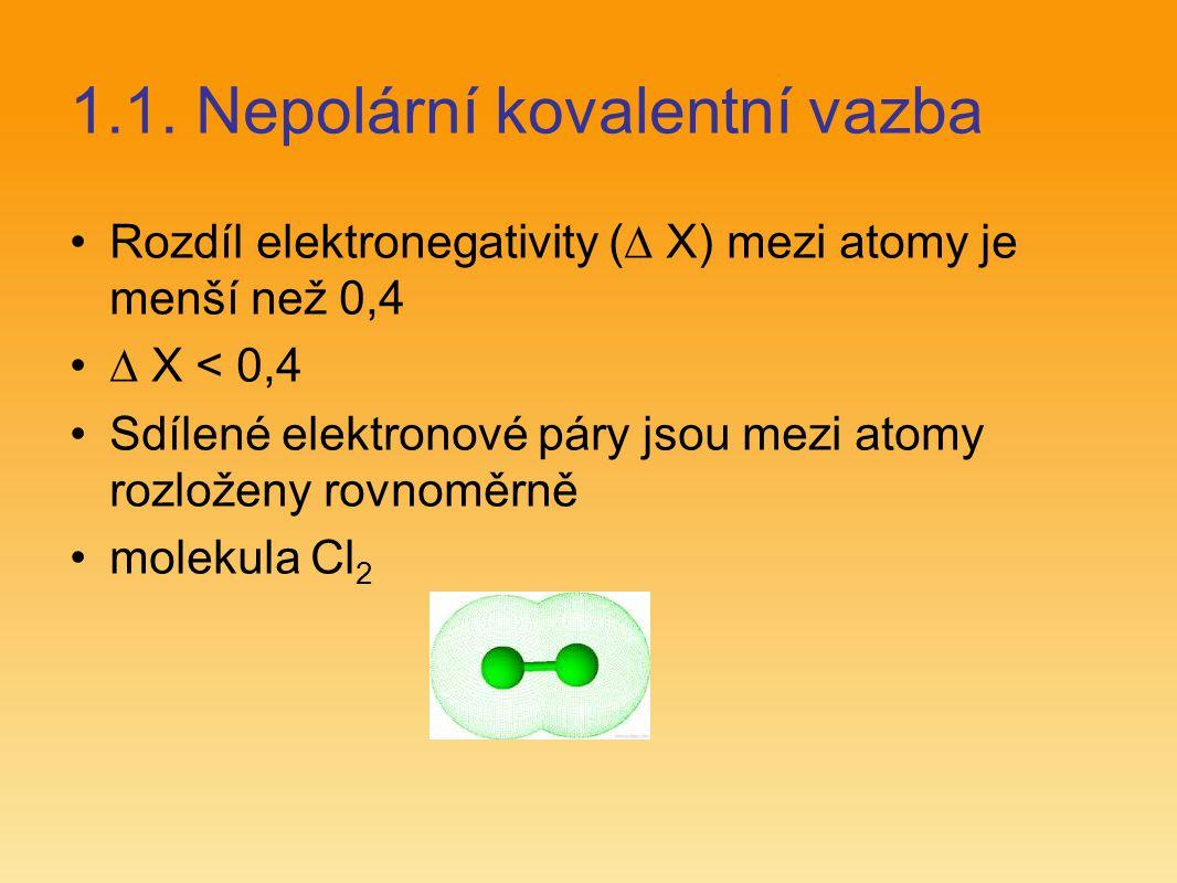 1.1. Nepolární kovalentní vazba Rozdíl elektronegativity (  X) mezi atomy je menší než 0,4  X < 0,4 Sdílené elektronové páry jsou mezi atomy rozlože