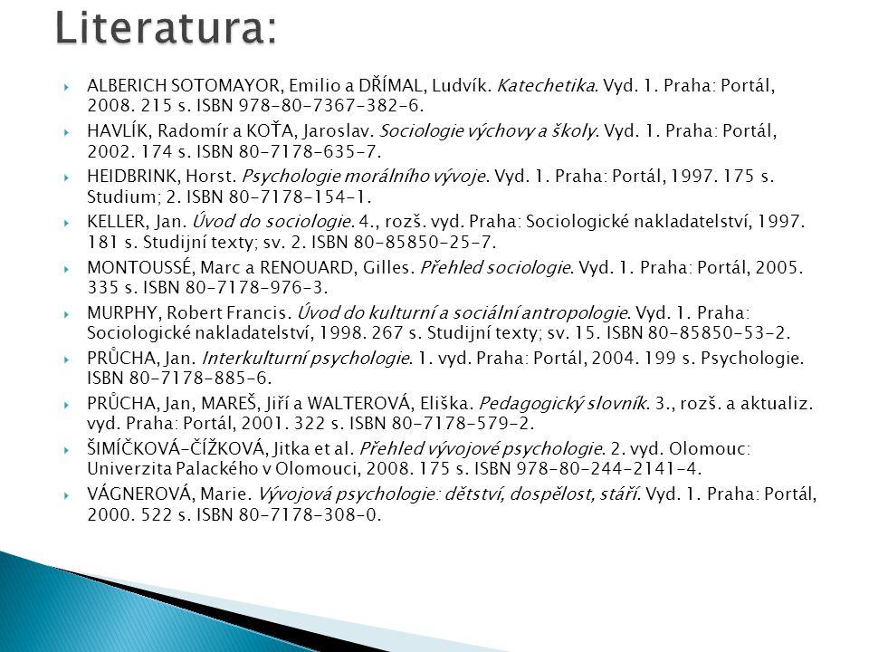  ALBERICH SOTOMAYOR, Emilio a DŘÍMAL, Ludvík. Katechetika. Vyd. 1. Praha: Portál, 2008. 215 s. ISBN 978-80-7367-382-6.  HAVLÍK, Radomír a KOŤA, Jaro