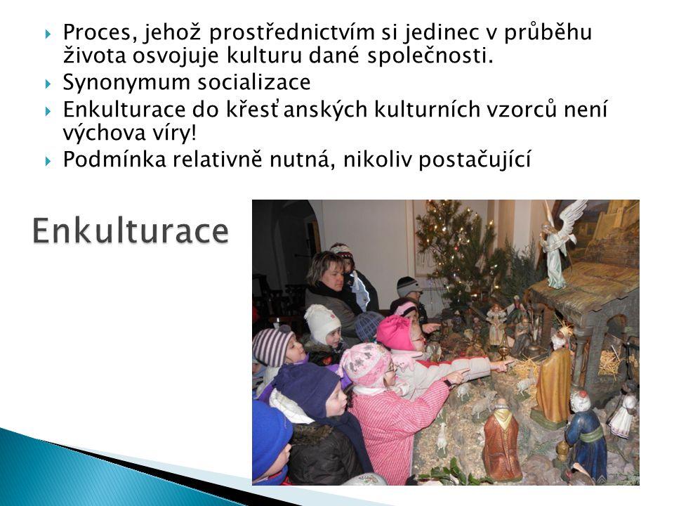  Proces, jehož prostřednictvím si jedinec v průběhu života osvojuje kulturu dané společnosti.  Synonymum socializace  Enkulturace do křesťanských k
