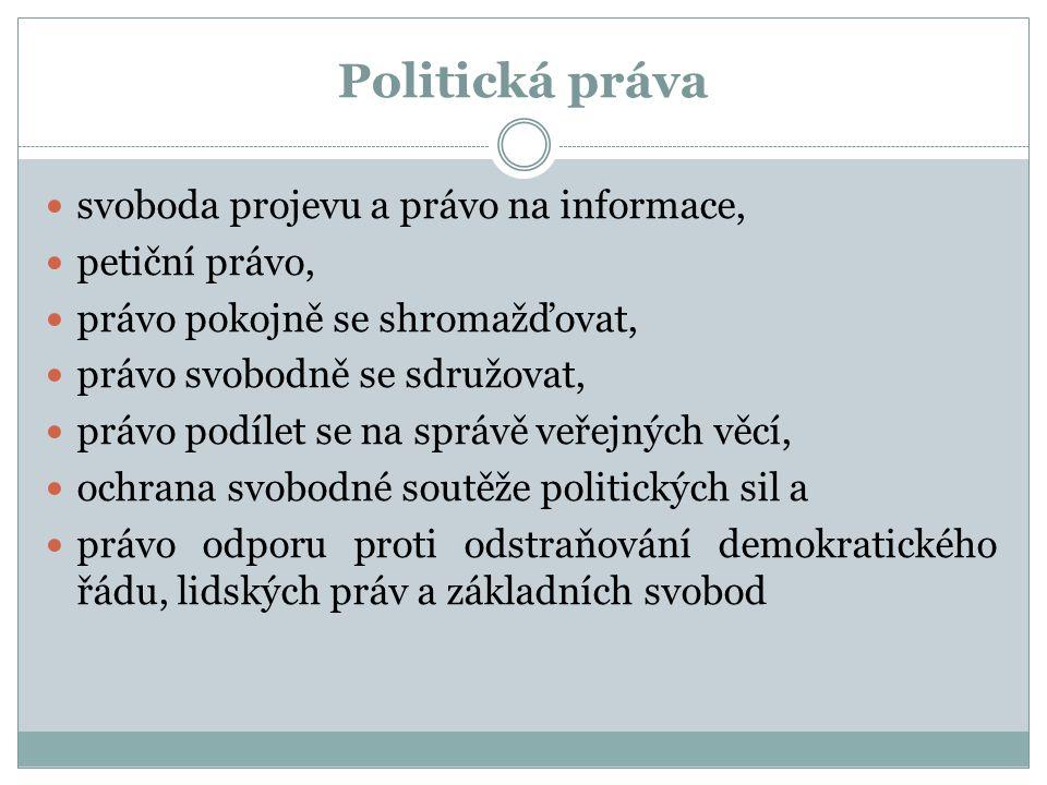 Politická práva svoboda projevu a právo na informace, petiční právo, právo pokojně se shromažďovat, právo svobodně se sdružovat, právo podílet se na s