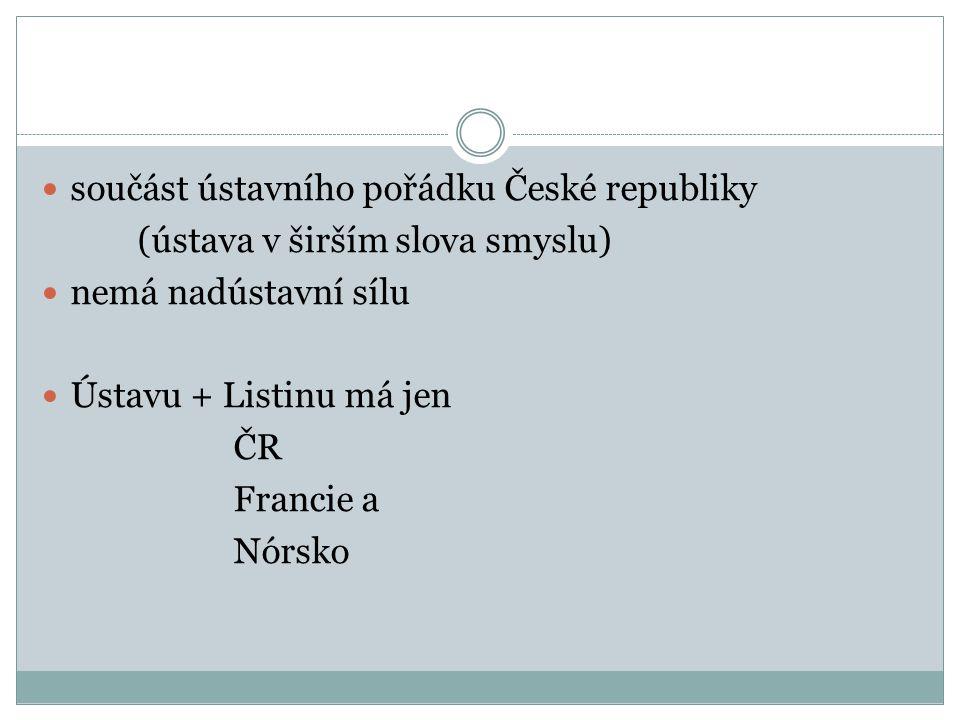 součást ústavního pořádku České republiky (ústava v širším slova smyslu) nemá nadústavní sílu Ústavu + Listinu má jen ČR Francie a Nórsko
