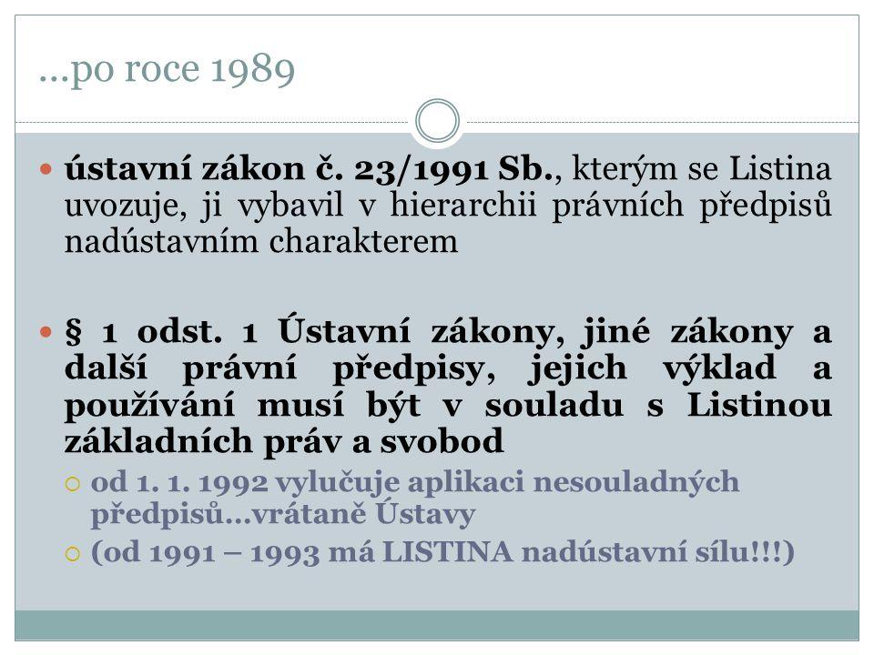 ...po roce 1989 ústavní zákon č. 23/1991 Sb., kterým se Listina uvozuje, ji vybavil v hierarchii právních předpisů nadústavním charakterem § 1 odst. 1