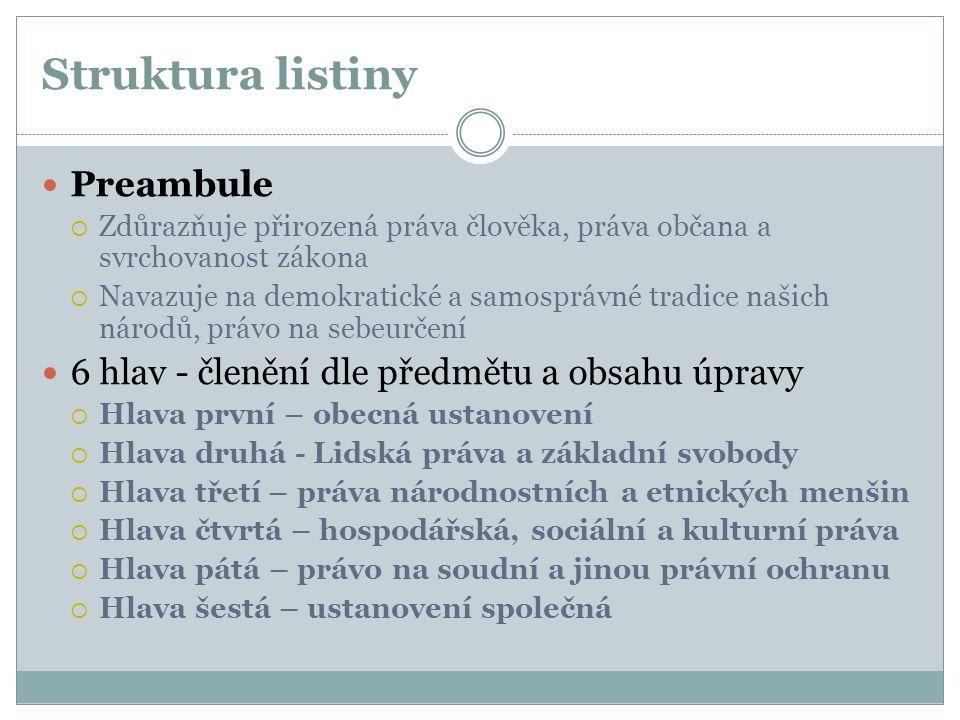 Struktura listiny Preambule  Zdůrazňuje přirozená práva člověka, práva občana a svrchovanost zákona  Navazuje na demokratické a samosprávné tradice
