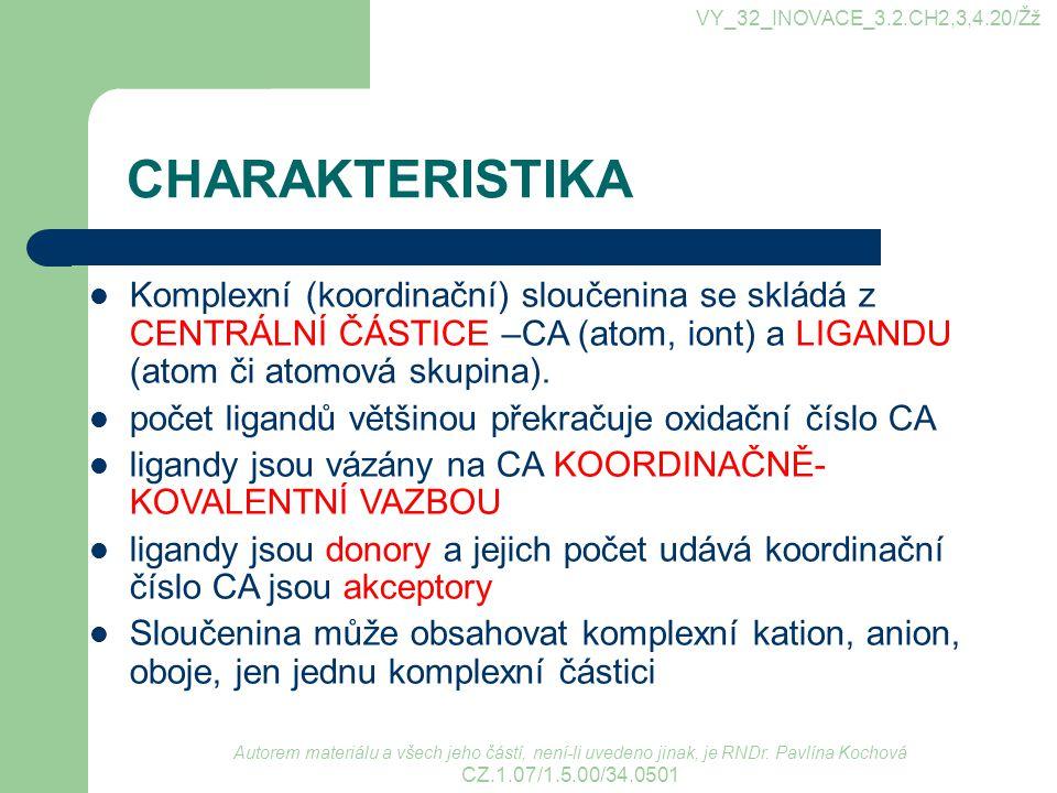 CHARAKTERISTIKA Autorem materiálu a všech jeho částí, není-li uvedeno jinak, je RNDr.