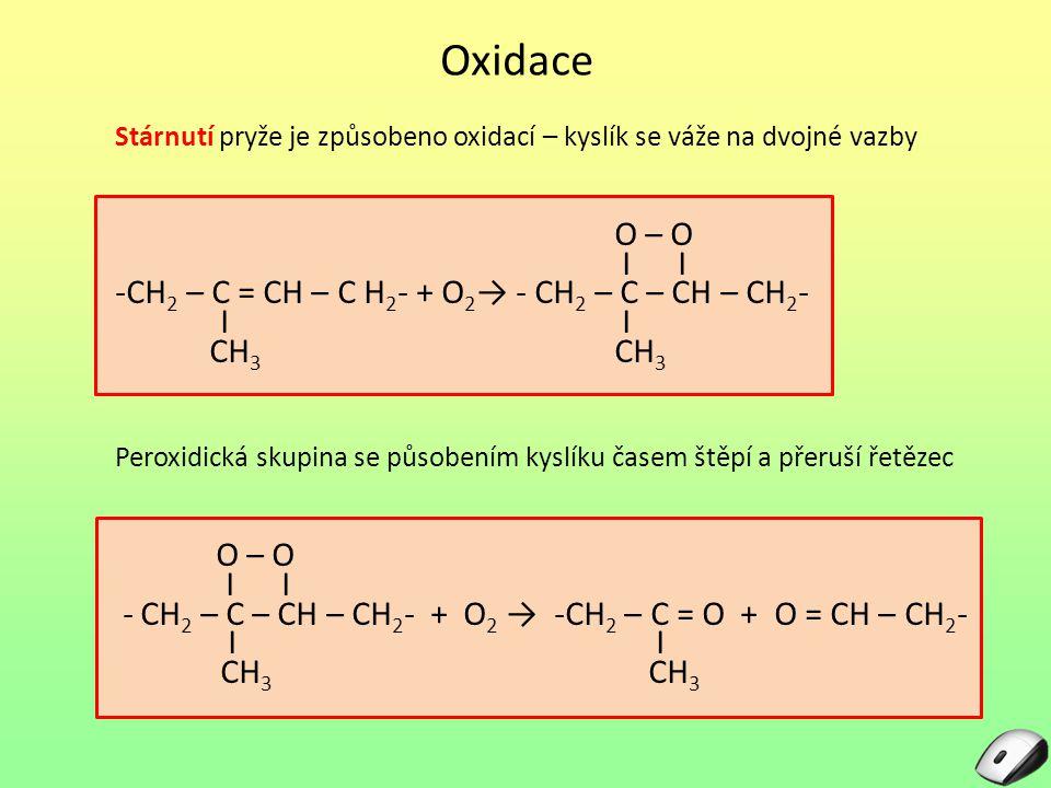 Oxidace Stárnutí pryže je způsobeno oxidací – kyslík se váže na dvojné vazby O – O I I -CH 2 – C = CH – C H 2 - + O 2 → - CH 2 – C – CH – CH 2 - I I CH 3 CH 3 Peroxidická skupina se působením kyslíku časem štěpí a přeruší řetězec O – O I I - CH 2 – C – CH – CH 2 - + O 2 → -CH 2 – C = O + O = CH – CH 2 - I I CH 3 CH 3