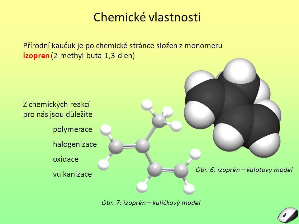 Chemické vlastnosti Přírodní kaučuk je po chemické stránce složen z monomeru izopren (2-methyl-buta-1,3-dien) Obr. 6: izoprén – kalotový model Z chemi