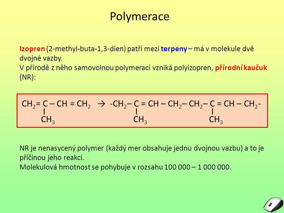 Polymerace Izopren (2-methyl-buta-1,3-dien) patří mezi terpeny – má v molekule dvě dvojné vazby. V přírodě z něho samovolnou polymerací vzniká polyizo