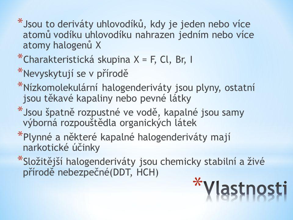 * Jsou to deriváty uhlovodíků, kdy je jeden nebo více atomů vodíku uhlovodíku nahrazen jedním nebo více atomy halogenů X * Charakteristická skupina X