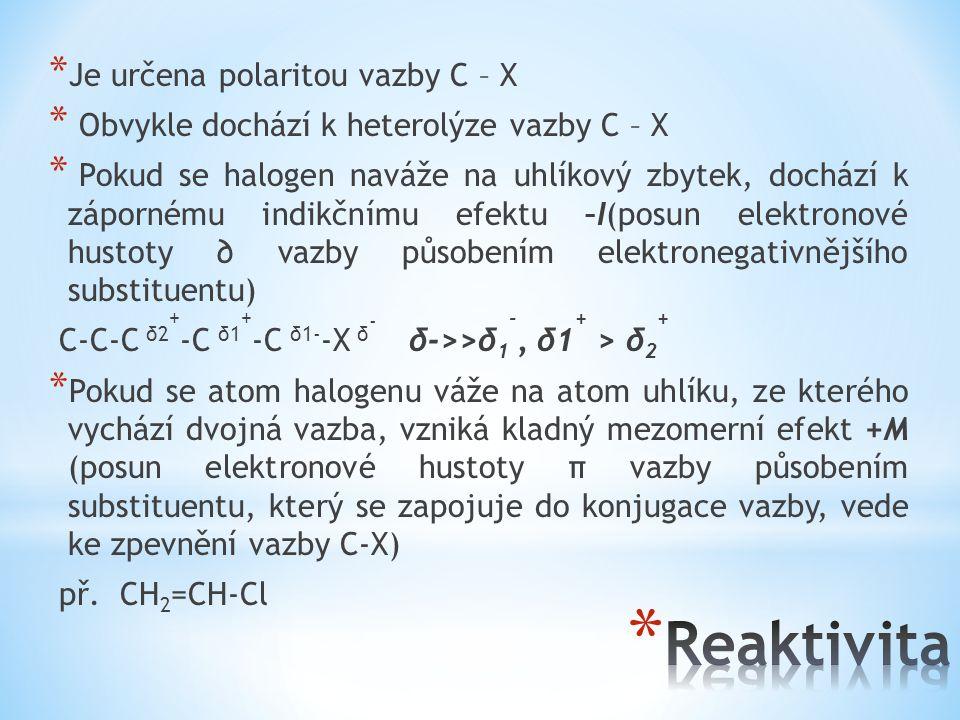 * Je určena polaritou vazby C – X * Obvykle dochází k heterolýze vazby C – X * Pokud se halogen naváže na uhlíkový zbytek, dochází k zápornému indikčn
