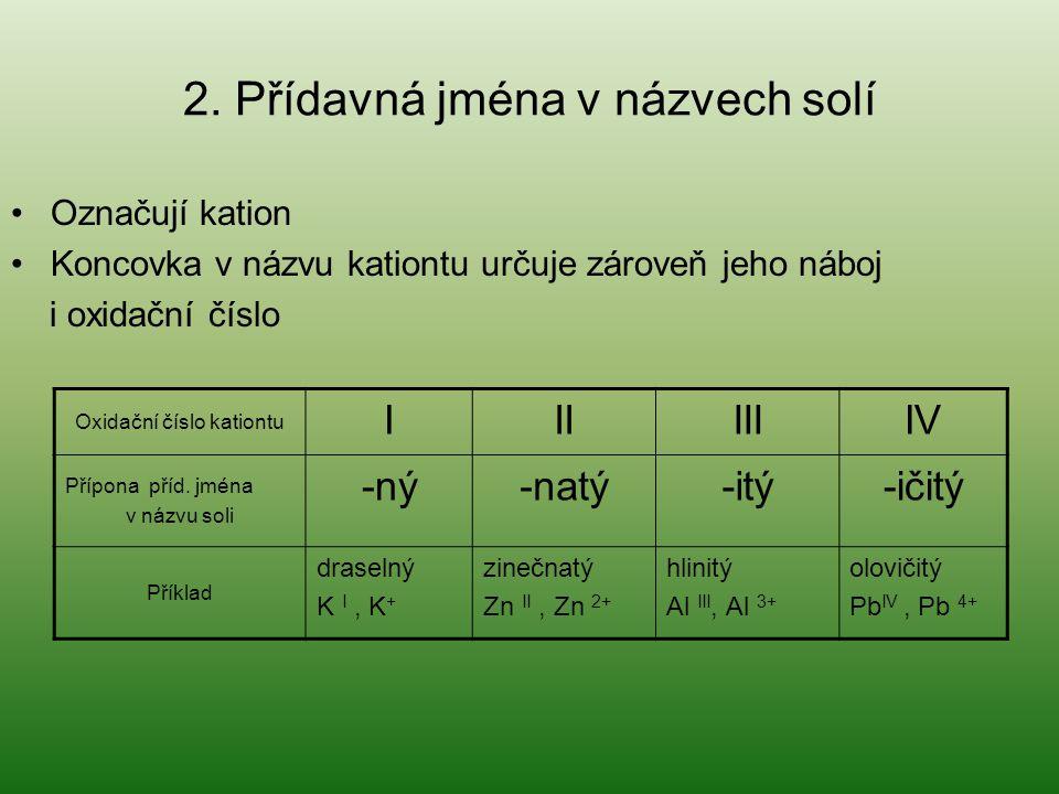 2. Přídavná jména v názvech solí Označují kation Koncovka v názvu kationtu určuje zároveň jeho náboj i oxidační číslo Oxidační číslo kationtu IIIIIIIV