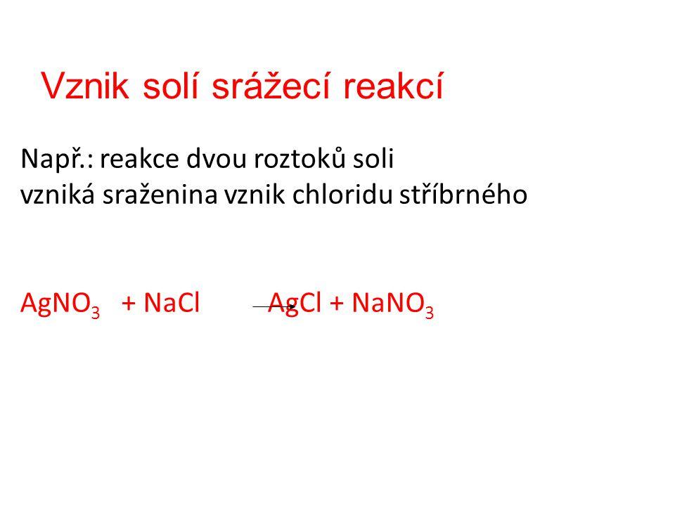 Vznik solí srážecí reakcí Např.: reakce dvou roztoků soli vzniká sraženina vznik chloridu stříbrného AgNO 3 + NaCl AgCl + NaNO 3