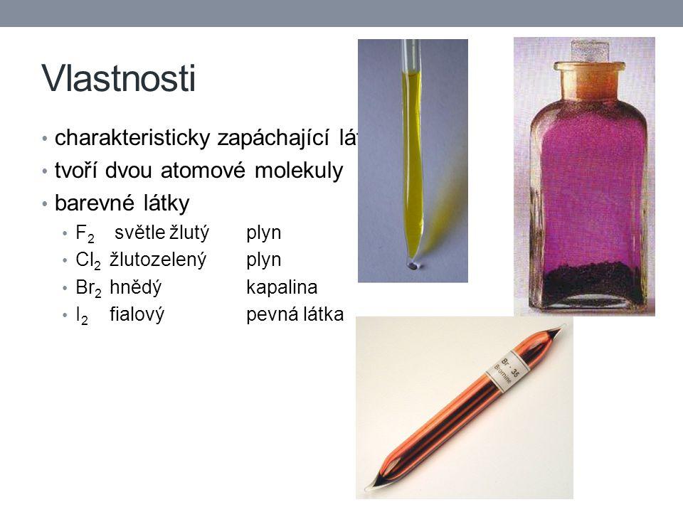 Vlastnosti charakteristicky zapáchající látky tvoří dvou atomové molekuly barevné látky F 2 světle žlutýplyn Cl 2 žlutozelenýplyn Br 2 hnědýkapalina I