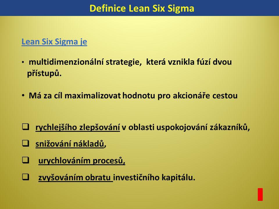 Definice Lean Six Sigma Lean Six Sigma je multidimenzionální strategie, která vznikla fúzí dvou přístupů. Má za cíl maximalizovat hodnotu pro akcionář