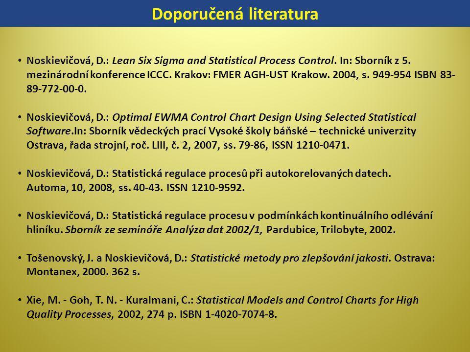 Doporučená literatura Noskievičová, D.: Lean Six Sigma and Statistical Process Control. In: Sborník z 5. mezinárodní konference ICCC. Krakov: FMER AGH