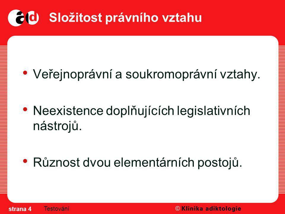 Složitost právního vztahu Veřejnoprávní a soukromoprávní vztahy. Neexistence doplňujících legislativních nástrojů. Různost dvou elementárních postojů.