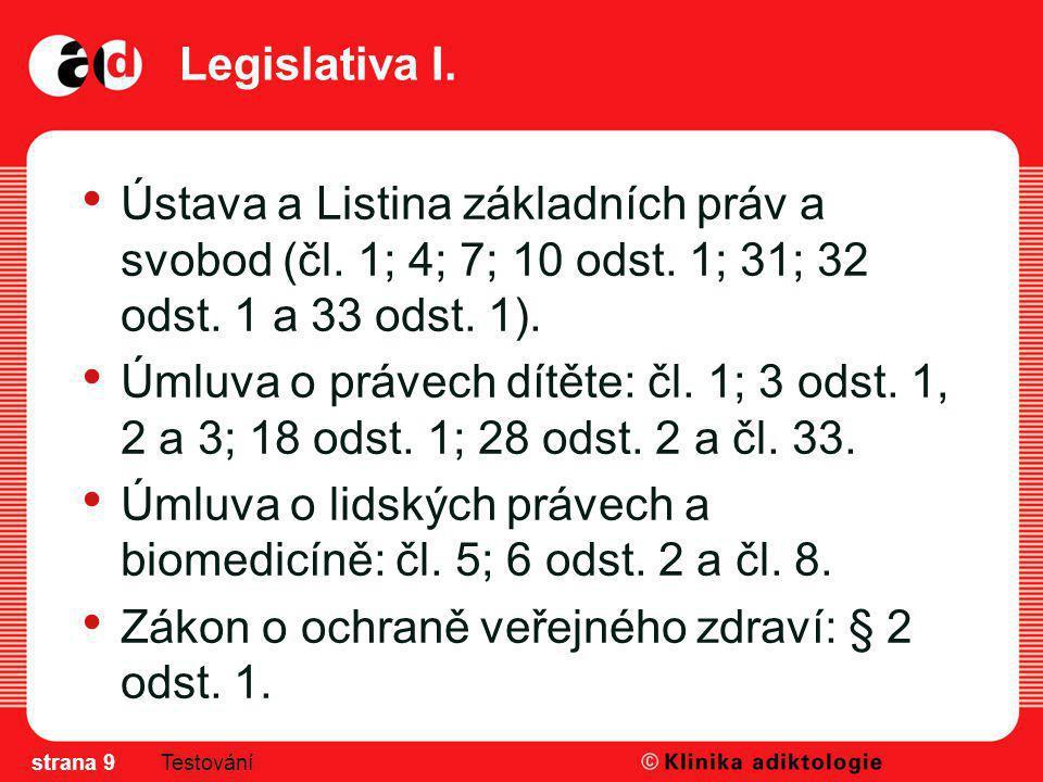 Legislativa I. Ústava a Listina základních práv a svobod (čl. 1; 4; 7; 10 odst. 1; 31; 32 odst. 1 a 33 odst. 1). Úmluva o právech dítěte: čl. 1; 3 ods