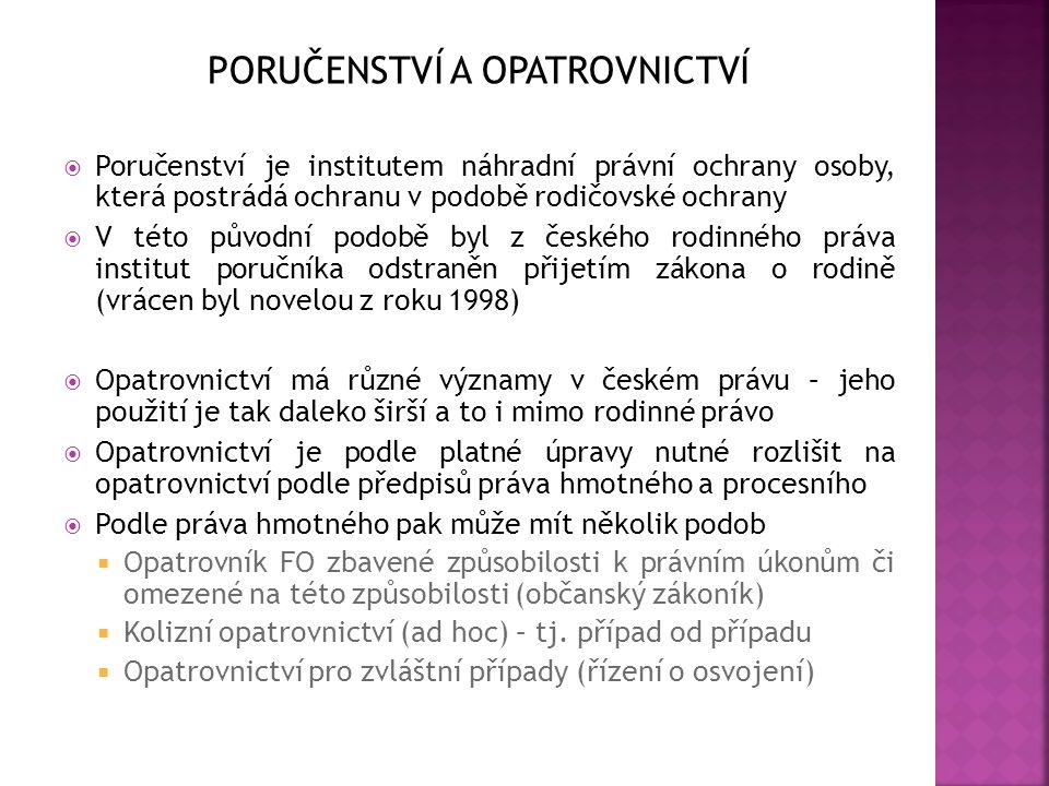 PORUČENSTVÍ A OPATROVNICTVÍ  Poručenství je institutem náhradní právní ochrany osoby, která postrádá ochranu v podobě rodičovské ochrany  V této pův