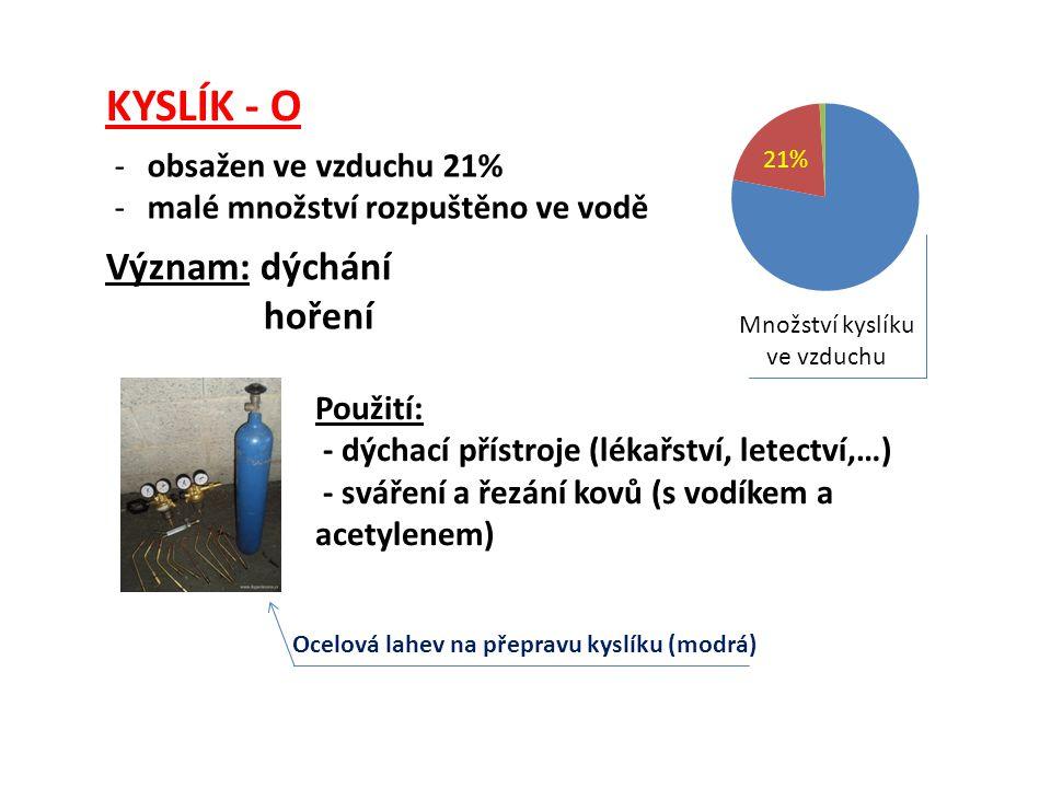 KYSLÍK - O -obsažen ve vzduchu 21% -malé množství rozpuštěno ve vodě Význam: dýchání hoření Ocelová lahev na přepravu kyslíku (modrá) Použití: - dýcha