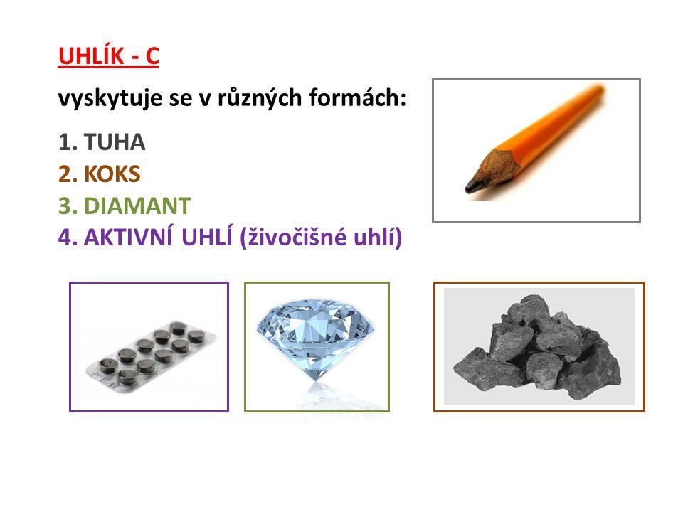 UHLÍK - C vyskytuje se v různých formách: 1.TUHA 2.KOKS 3.DIAMANT 4.AKTIVNÍ UHLÍ (živočišné uhlí)