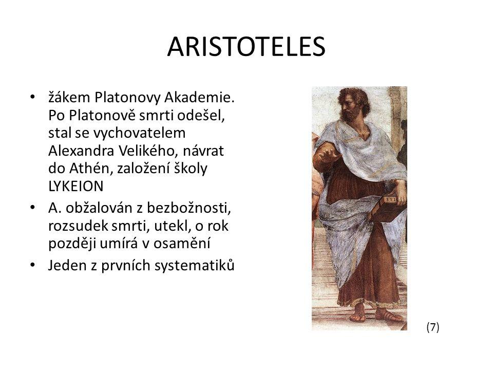 ARISTOTELES žákem Platonovy Akademie.