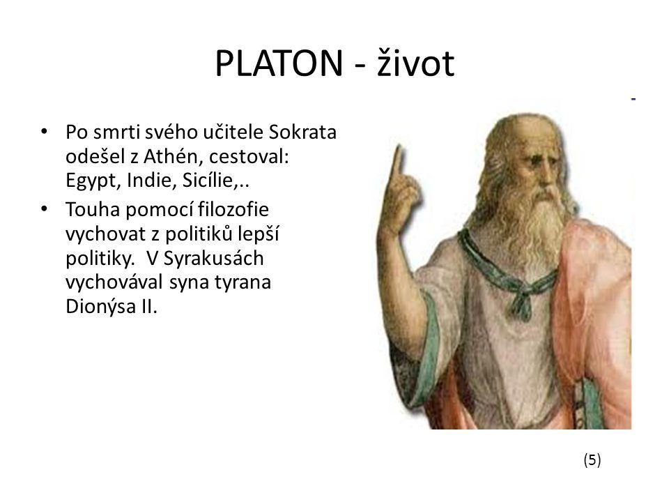 PLATON - život Po smrti svého učitele Sokrata odešel z Athén, cestoval: Egypt, Indie, Sicílie,..