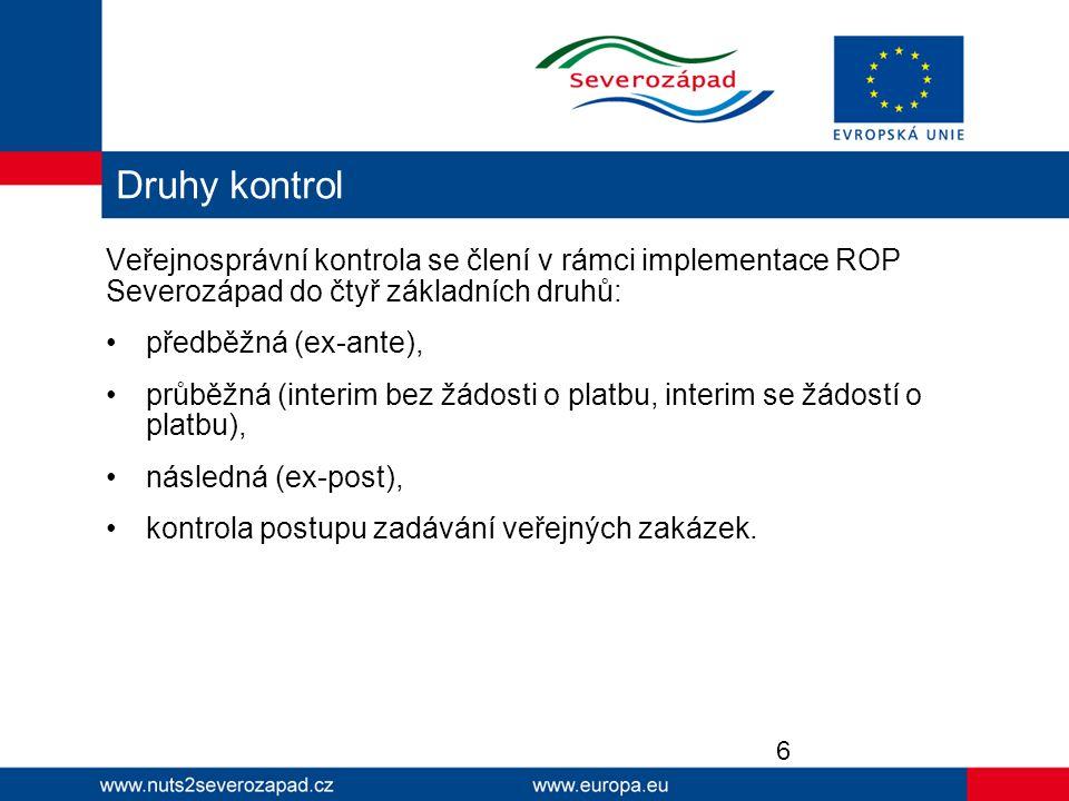 Veřejnosprávní kontrola se člení v rámci implementace ROP Severozápad do čtyř základních druhů: předběžná (ex-ante), průběžná (interim bez žádosti o p