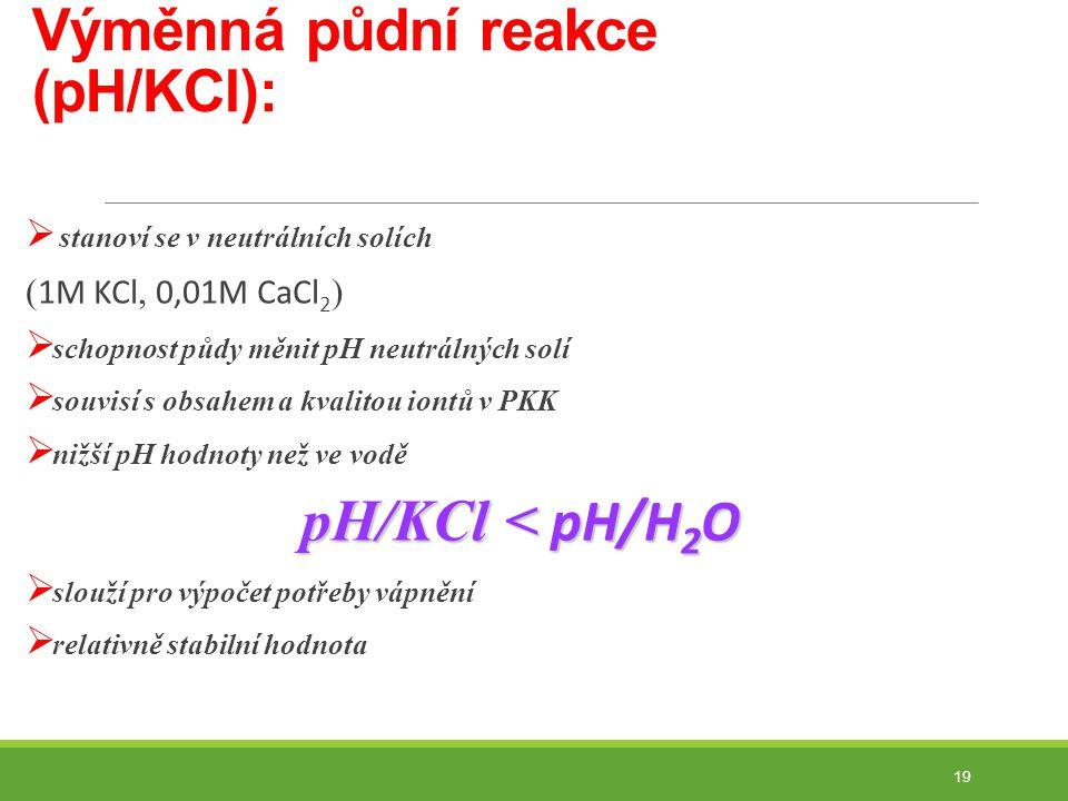 Výměnná půdní reakce (pH/KCl):  stanoví se v neutrálních solích ( 1M KCl, 0,01M CaCl 2 )  schopnost půdy měnit pH neutrálných solí  souvisí s obsahem a kvalitou iontů v PKK  nižší pH hodnoty než ve vodě pH/KCl < pH/H 2 O  slouží pro výpočet potřeby vápnění  relativně stabilní hodnota 19