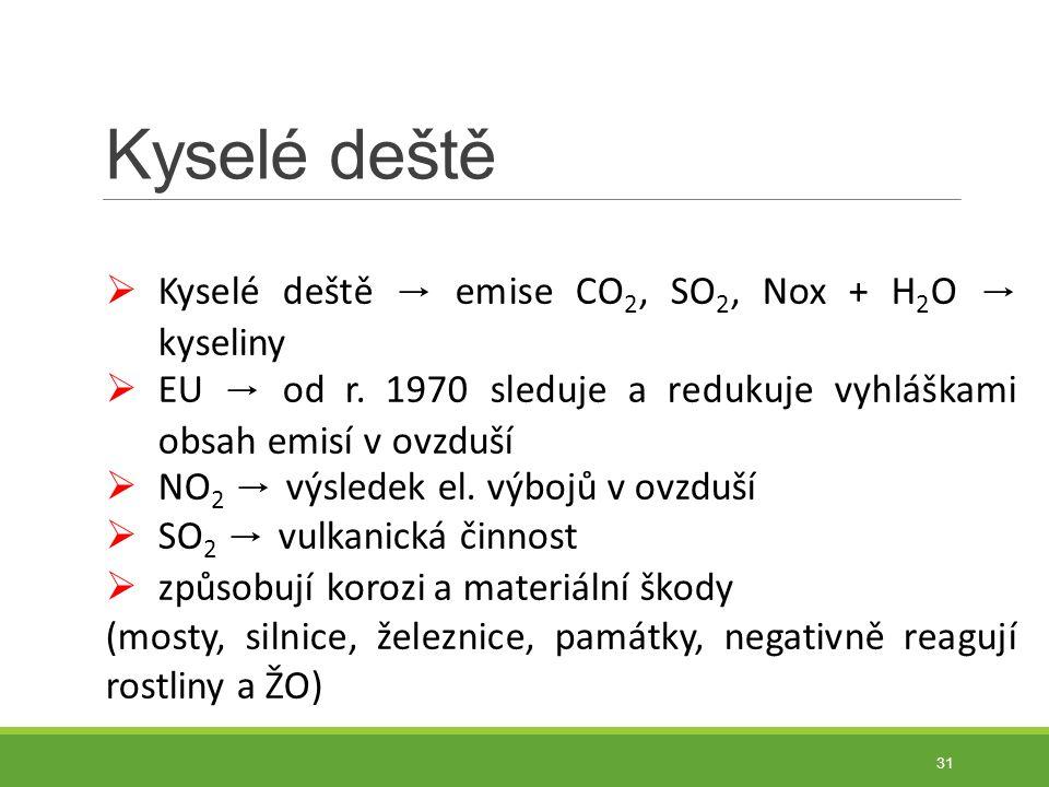 Kyselé deště 31  Kyselé deště → emise CO 2, SO 2, Nox + H 2 O → kyseliny  EU → od r.