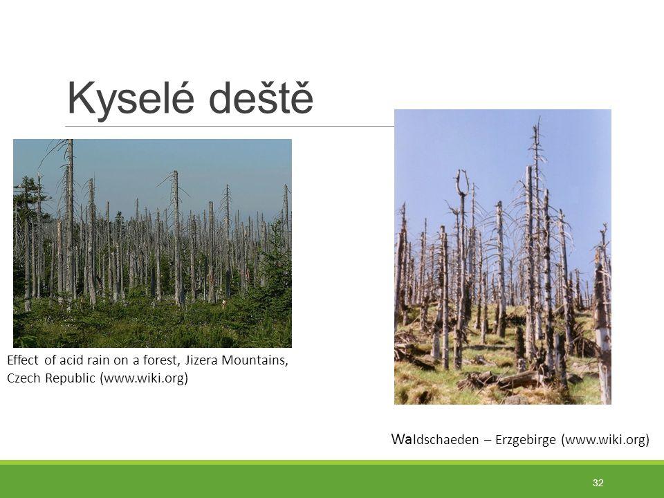 Wa ldschaeden – Erzgebirge (www.wiki.org) Effect of acid rain on a forest, Jizera Mountains, Czech Republic (www.wiki.org) Kyselé deště 32