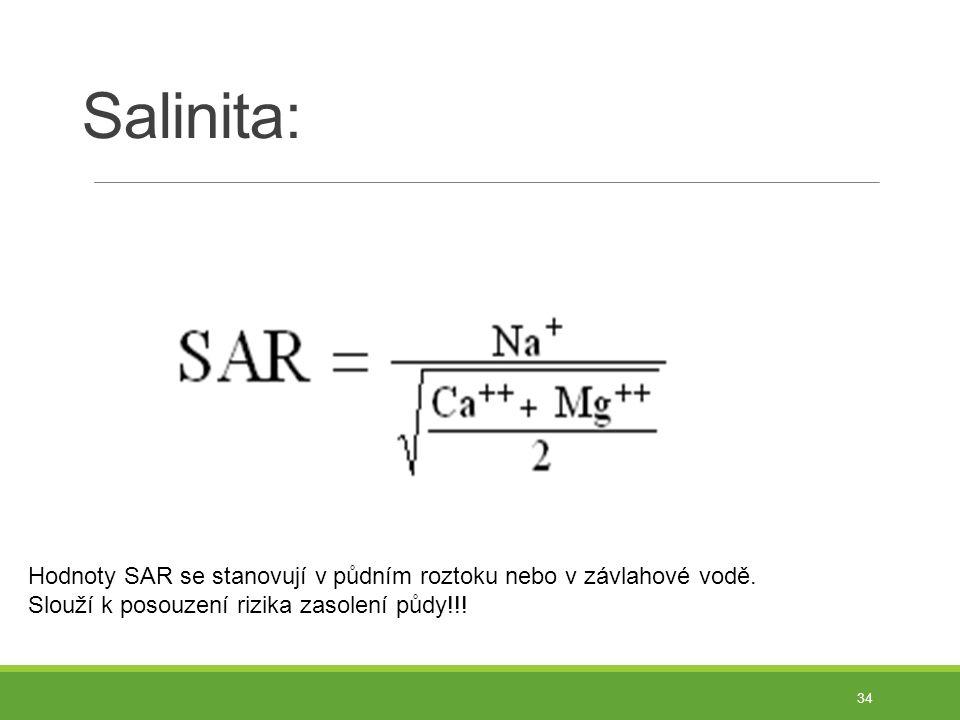 Salinita: 34 Hodnoty SAR se stanovují v půdním roztoku nebo v závlahové vodě.