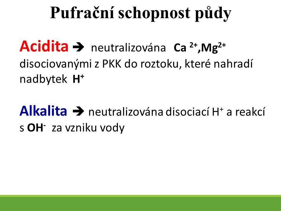 Acidita  neutralizována Ca 2+,Mg 2+ disociovanými z PKK do roztoku, které nahradí nadbytek H + Alkalita  neutralizována disociací H + a reakcí s OH - za vzniku vody Pufrační schopnost půdy