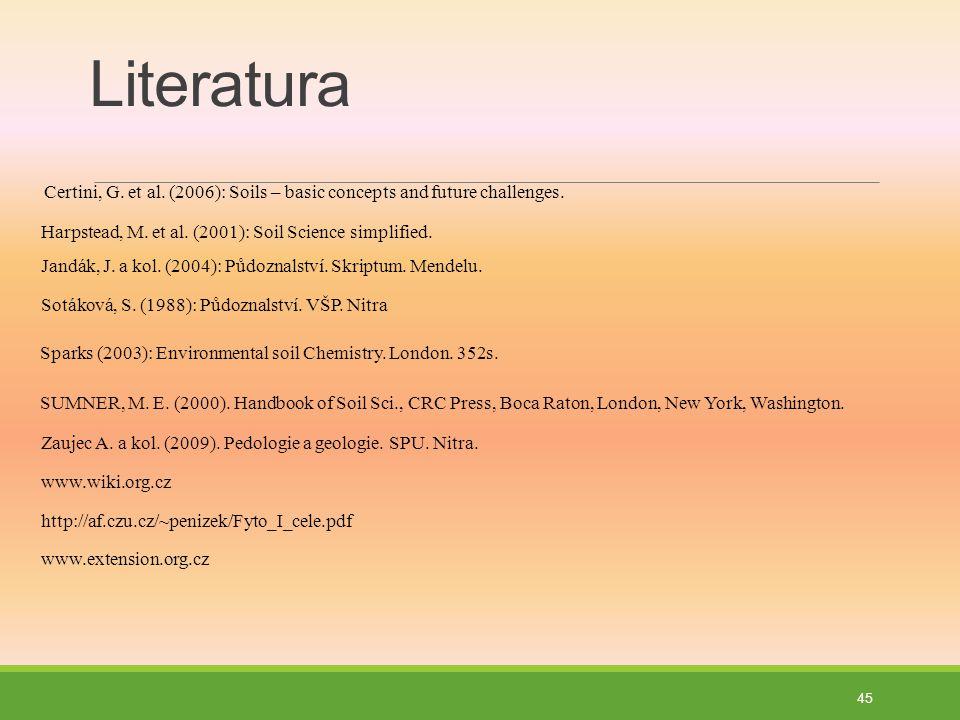 Literatura Certini, G.et al. (2006): Soils – basic concepts and future challenges.
